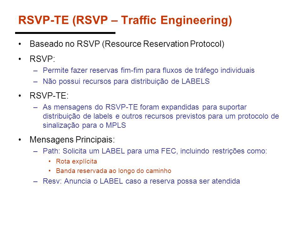 RSVP-TE (RSVP – Traffic Engineering) Baseado no RSVP (Resource Reservation Protocol) RSVP: –Permite fazer reservas fim-fim para fluxos de tráfego indi