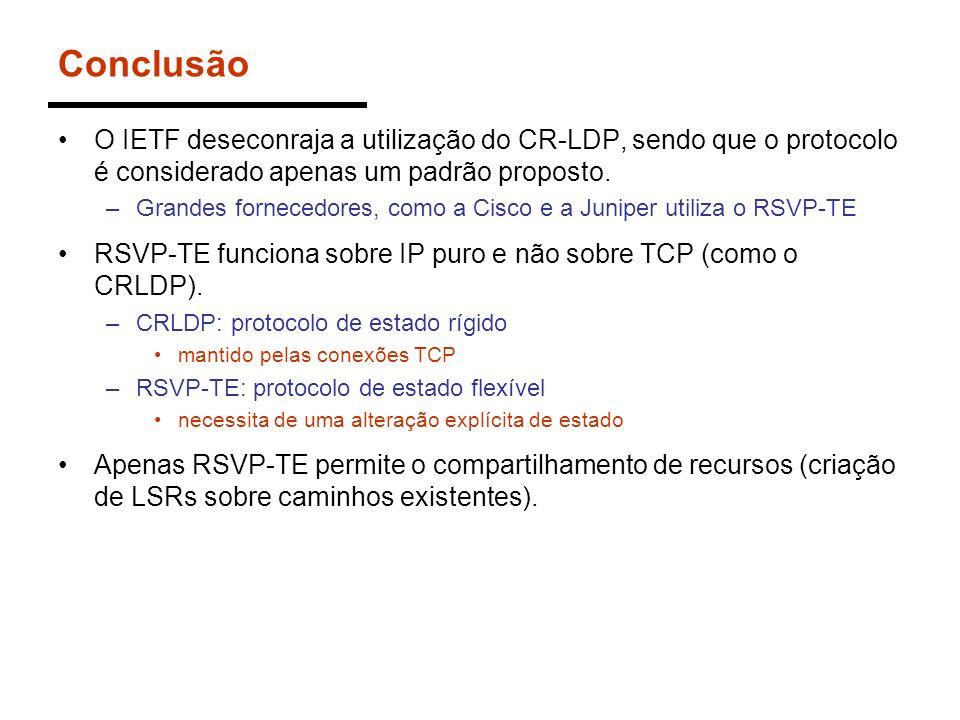 Conclusão O IETF deseconraja a utilização do CR-LDP, sendo que o protocolo é considerado apenas um padrão proposto. –Grandes fornecedores, como a Cisc
