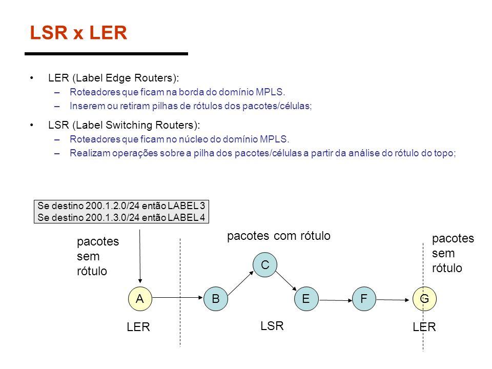 LSR x LER LER (Label Edge Routers): –Roteadores que ficam na borda do domínio MPLS. –Inserem ou retiram pilhas de rótulos dos pacotes/células; LSR (La