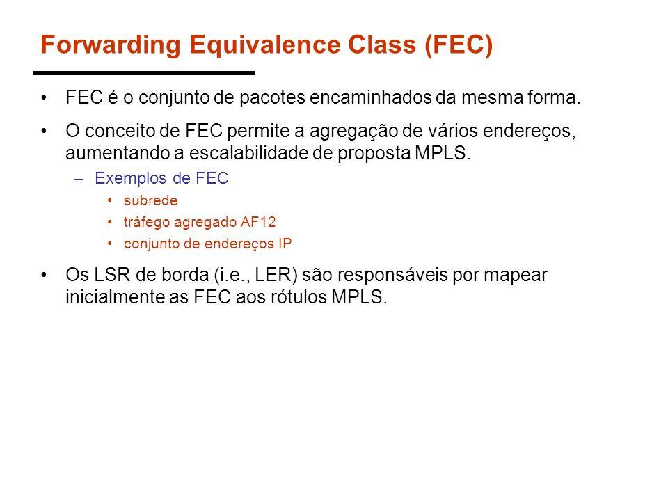 Forwarding Equivalence Class (FEC) FEC é o conjunto de pacotes encaminhados da mesma forma. O conceito de FEC permite a agregação de vários endereços,