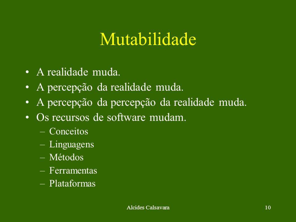 Alcides Calsavara10 Mutabilidade A realidade muda. A percepção da realidade muda. A percepção da percepção da realidade muda. Os recursos de software