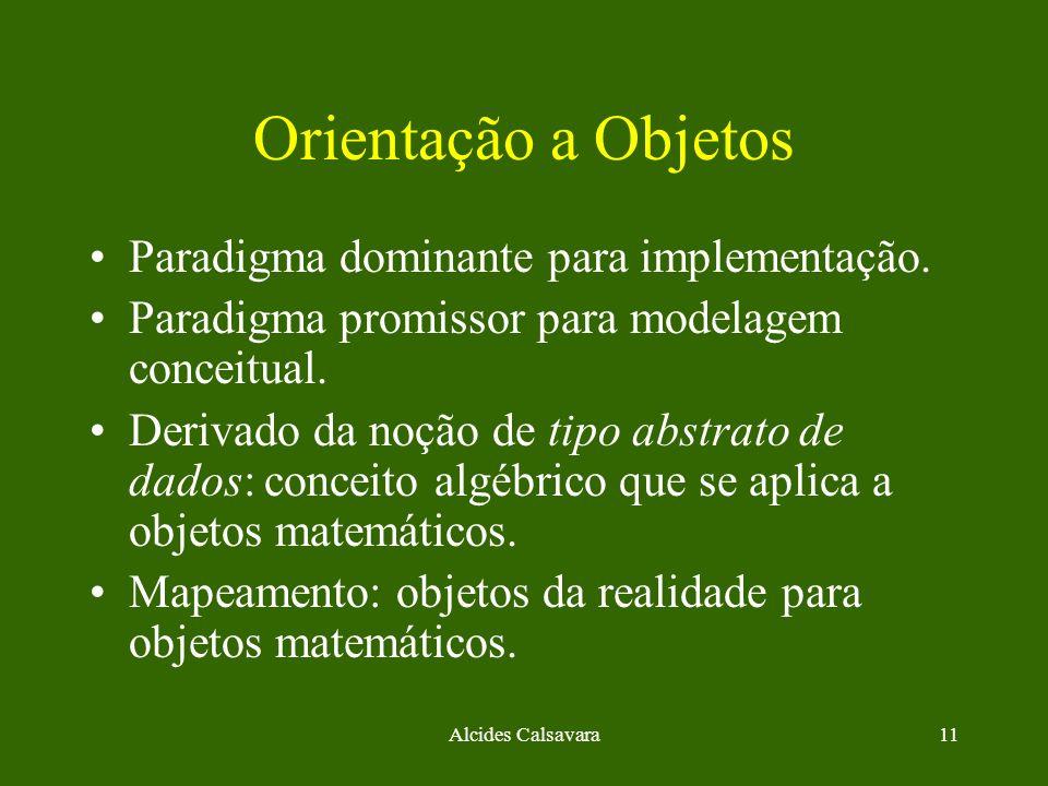 Alcides Calsavara11 Orientação a Objetos Paradigma dominante para implementação. Paradigma promissor para modelagem conceitual. Derivado da noção de t