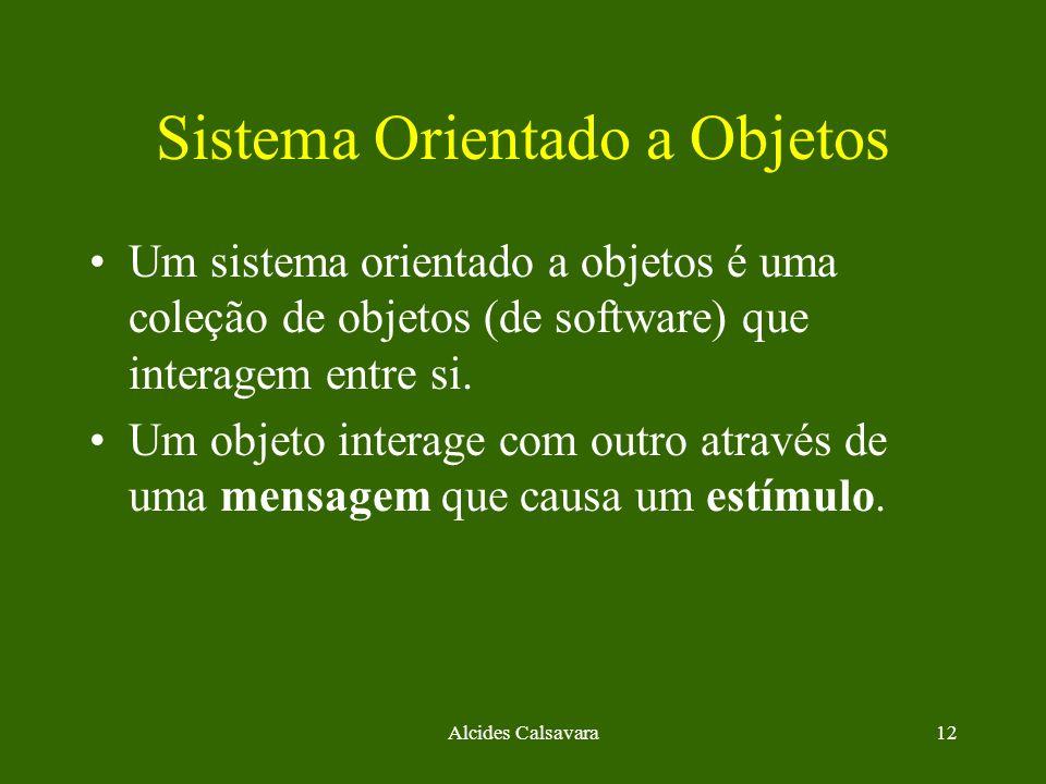 Alcides Calsavara12 Sistema Orientado a Objetos Um sistema orientado a objetos é uma coleção de objetos (de software) que interagem entre si. Um objet