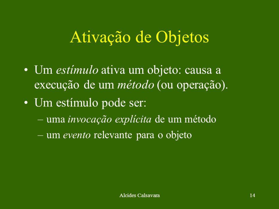 Alcides Calsavara14 Ativação de Objetos Um estímulo ativa um objeto: causa a execução de um método (ou operação). Um estímulo pode ser: –uma invocação