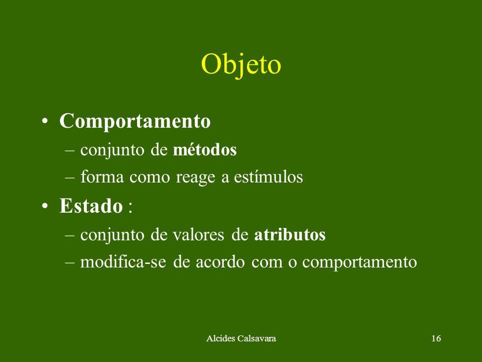 Alcides Calsavara16 Objeto Comportamento –conjunto de métodos –forma como reage a estímulos Estado : –conjunto de valores de atributos –modifica-se de