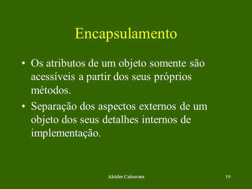 Alcides Calsavara19 Encapsulamento Os atributos de um objeto somente são acessíveis a partir dos seus próprios métodos. Separação dos aspectos externo