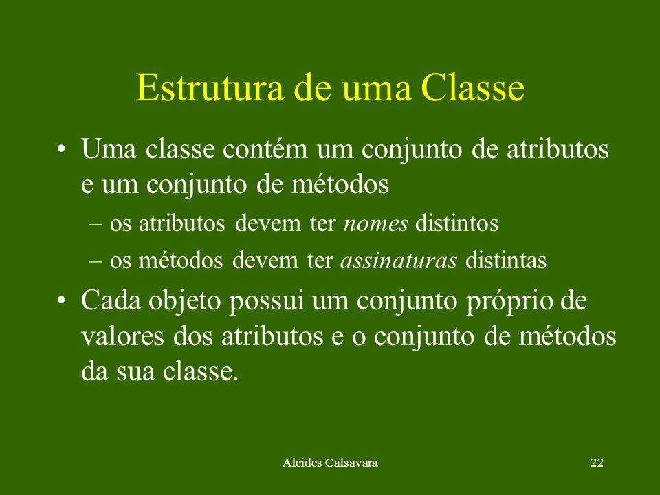 Alcides Calsavara22 Estrutura de uma Classe Uma classe contém um conjunto de atributos e um conjunto de métodos –os atributos devem ter nomes distinto