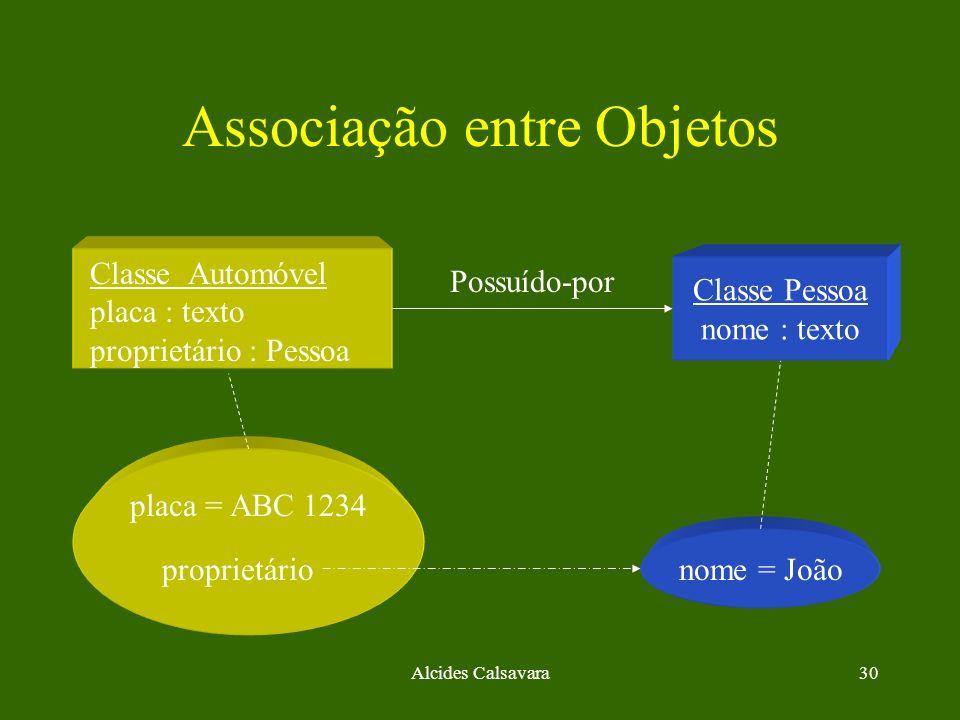 Alcides Calsavara30 Associação entre Objetos nome = João Classe Pessoa nome : texto Classe Automóvel placa : texto proprietário : Pessoa placa = ABC 1