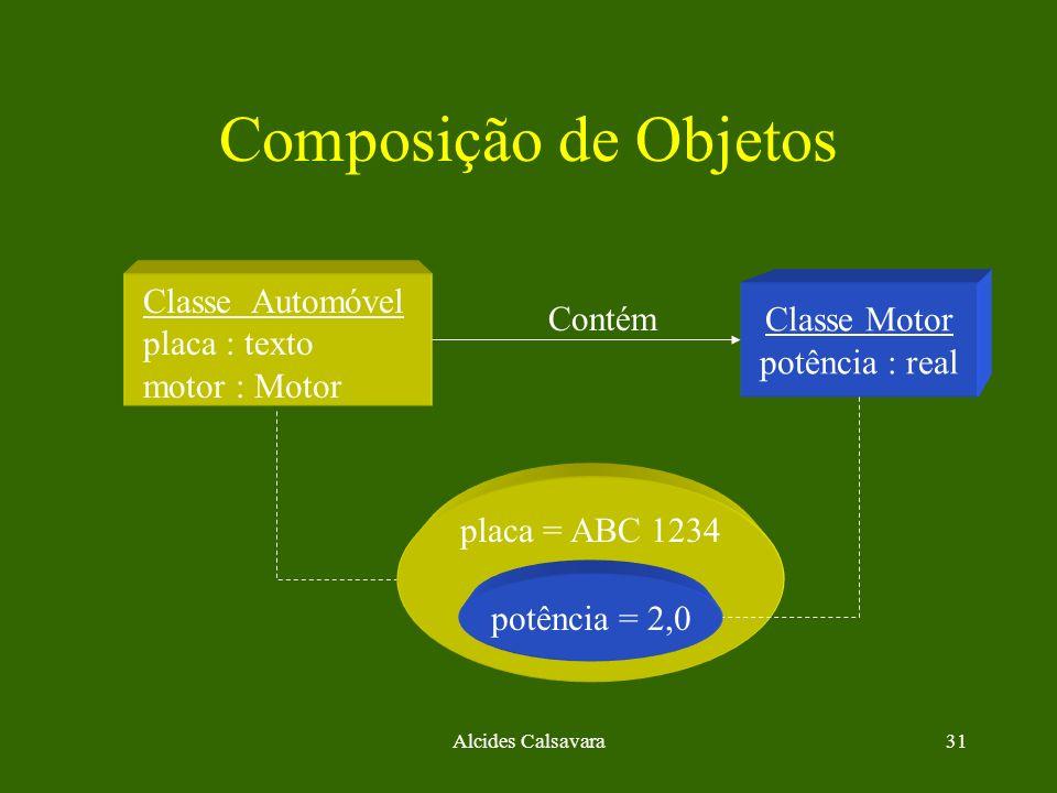 Alcides Calsavara31 Composição de Objetos potência = 2,0 Classe Motor potência : real Classe Automóvel placa : texto motor : Motor placa = ABC 1234 Co
