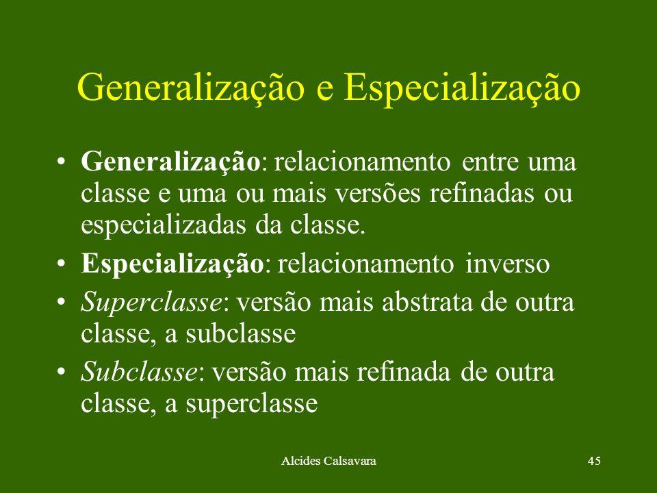 Alcides Calsavara45 Generalização e Especialização Generalização: relacionamento entre uma classe e uma ou mais versões refinadas ou especializadas da