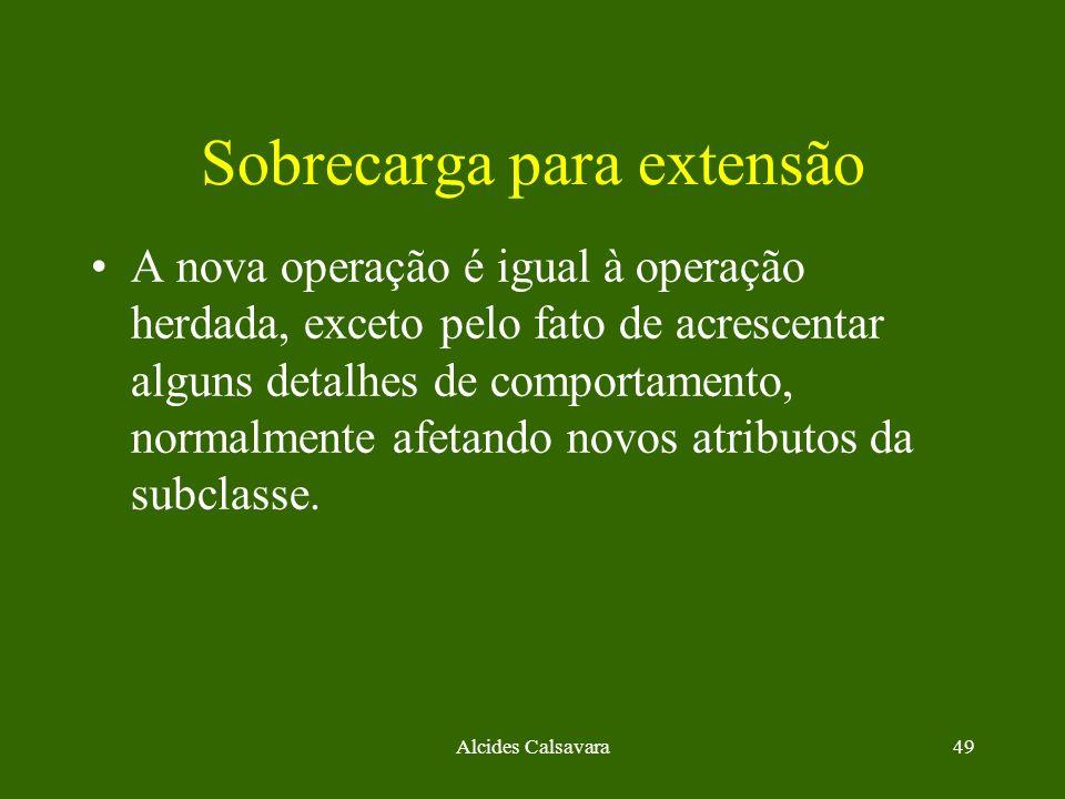 Alcides Calsavara49 Sobrecarga para extensão A nova operação é igual à operação herdada, exceto pelo fato de acrescentar alguns detalhes de comportame