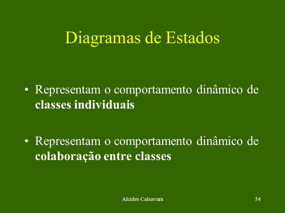Alcides Calsavara54 Diagramas de Estados Representam o comportamento dinâmico de classes individuais Representam o comportamento dinâmico de colaboraç