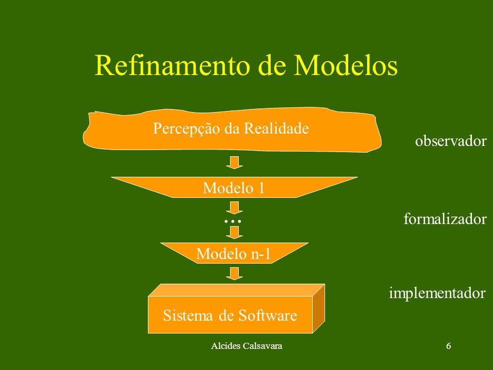 Alcides Calsavara7 Refinamento de Modelos Percepção da Realidade ( Modelo 0 ) Sistema de Software ( Modelo n ) Modelo 1 observador formalizador implementador Modelo n-1...