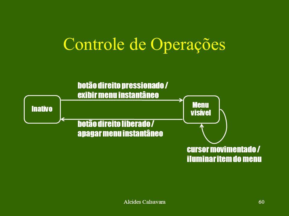 Alcides Calsavara60 Controle de Operações Inativo botão direito pressionado / exibir menu instantâneo Menu visível botão direito liberado / apagar men