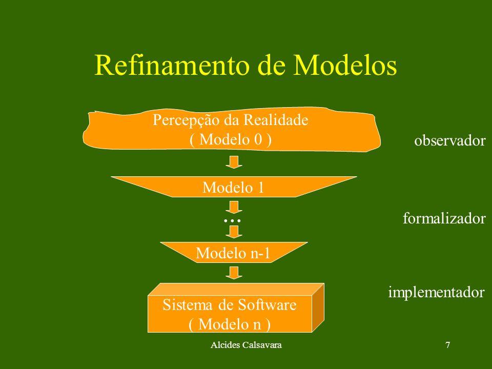 Alcides Calsavara8 Refinamento de Modelos Percepção da Realidade ( Modelo 0 ) Sistema de Software ( Modelo n ) Modelo 1 observador formalizador implementador Modelo n-1...