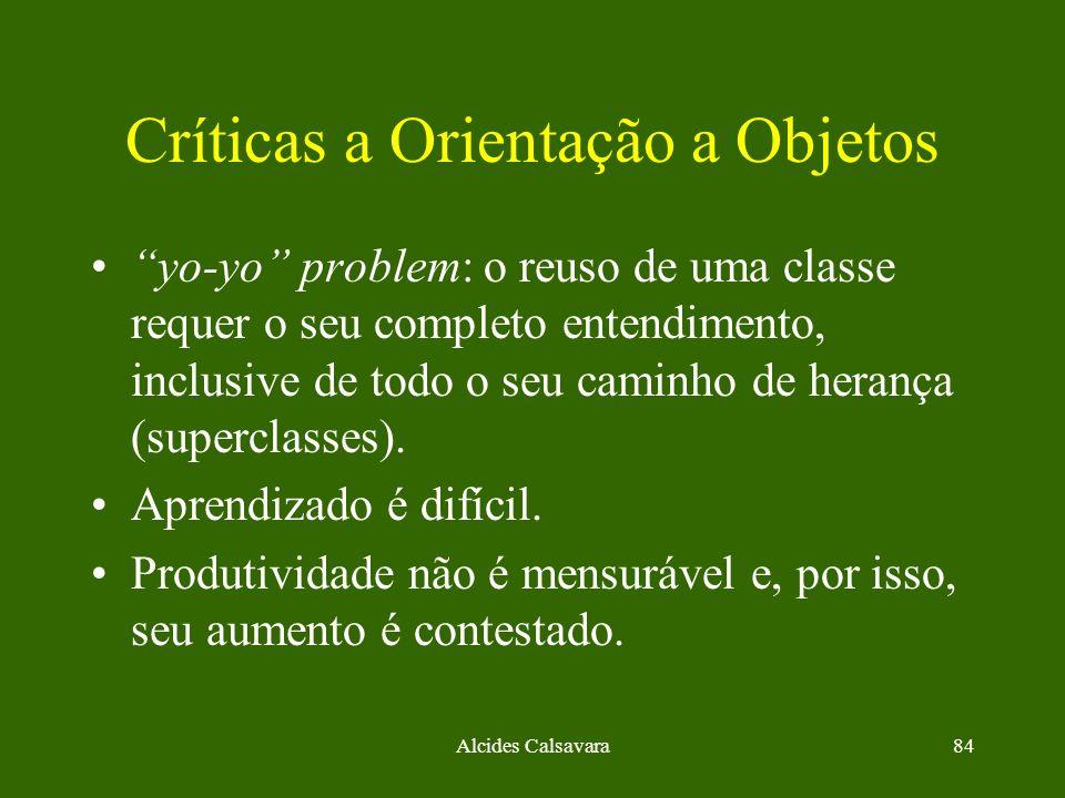 Alcides Calsavara84 Críticas a Orientação a Objetos yo-yo problem: o reuso de uma classe requer o seu completo entendimento, inclusive de todo o seu c