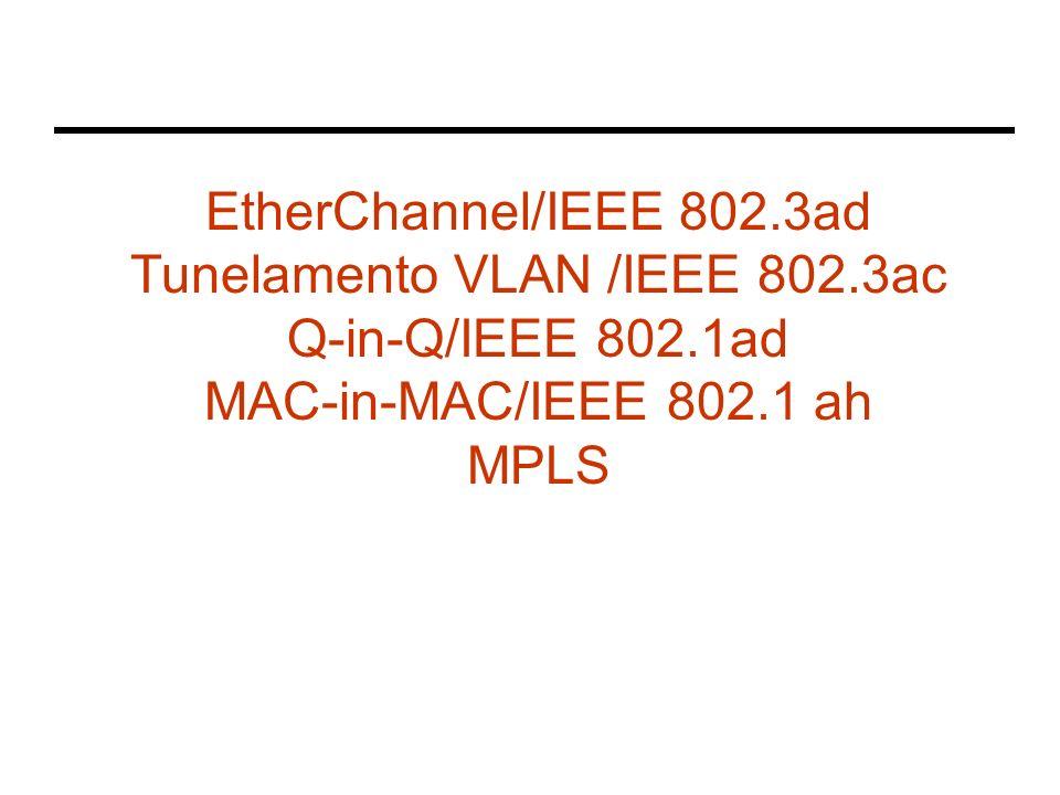 EtherChannel/IEEE 802.3ad Tunelamento VLAN /IEEE 802.3ac Q-in-Q/IEEE 802.1ad MAC-in-MAC/IEEE 802.1 ah MPLS