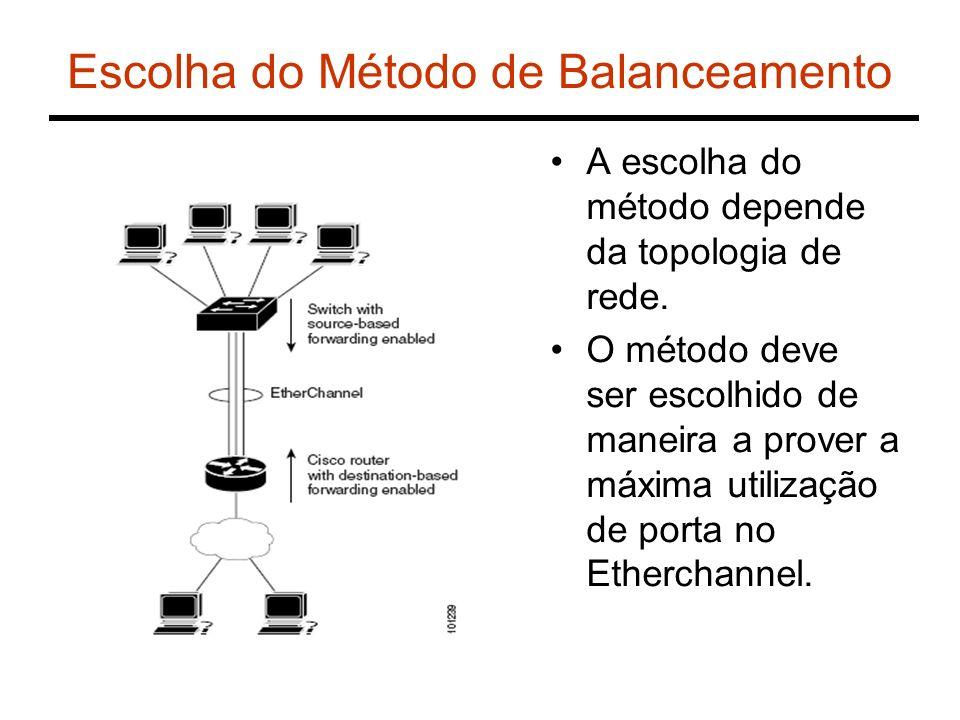 Escolha do Método de Balanceamento A escolha do método depende da topologia de rede. O método deve ser escolhido de maneira a prover a máxima utilizaç