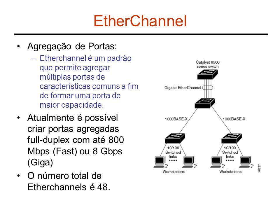 EtherChannel Agregação de Portas: –Etherchannel é um padrão que permite agregar múltiplas portas de características comuns a fim de formar uma porta d