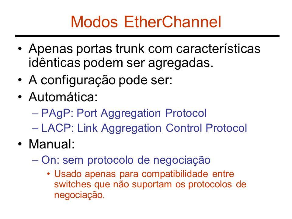 Modos EtherChannel Apenas portas trunk com características idênticas podem ser agregadas. A configuração pode ser: Automática: –PAgP: Port Aggregation