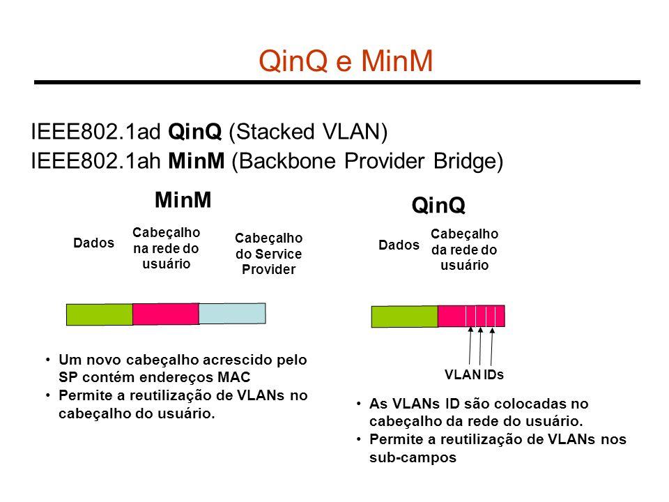IEEE802.1ad QinQ (Stacked VLAN) IEEE802.1ah MinM (Backbone Provider Bridge) QinQ e MinM Cabeçalho da rede do usuário Dados QinQ VLAN IDs As VLANs ID s