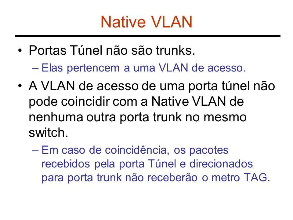 Native VLAN Portas Túnel não são trunks. –Elas pertencem a uma VLAN de acesso. A VLAN de acesso de uma porta túnel não pode coincidir com a Native VLA