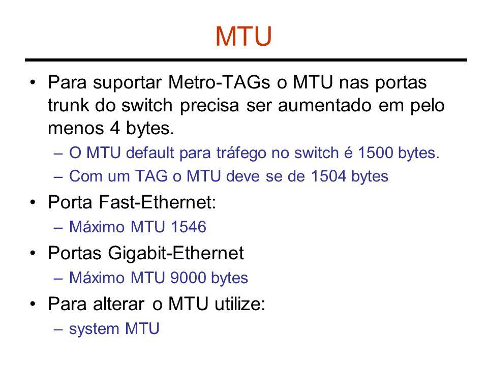 MTU Para suportar Metro-TAGs o MTU nas portas trunk do switch precisa ser aumentado em pelo menos 4 bytes. –O MTU default para tráfego no switch é 150