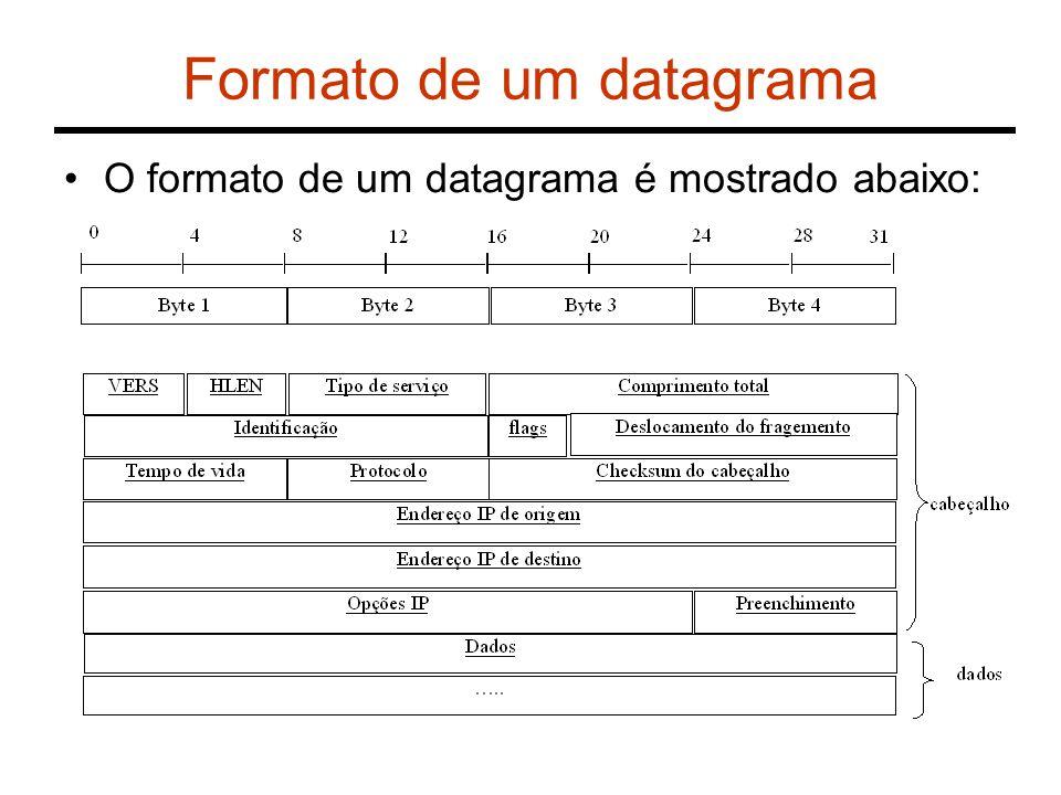 Formato de um datagrama O formato de um datagrama é mostrado abaixo: