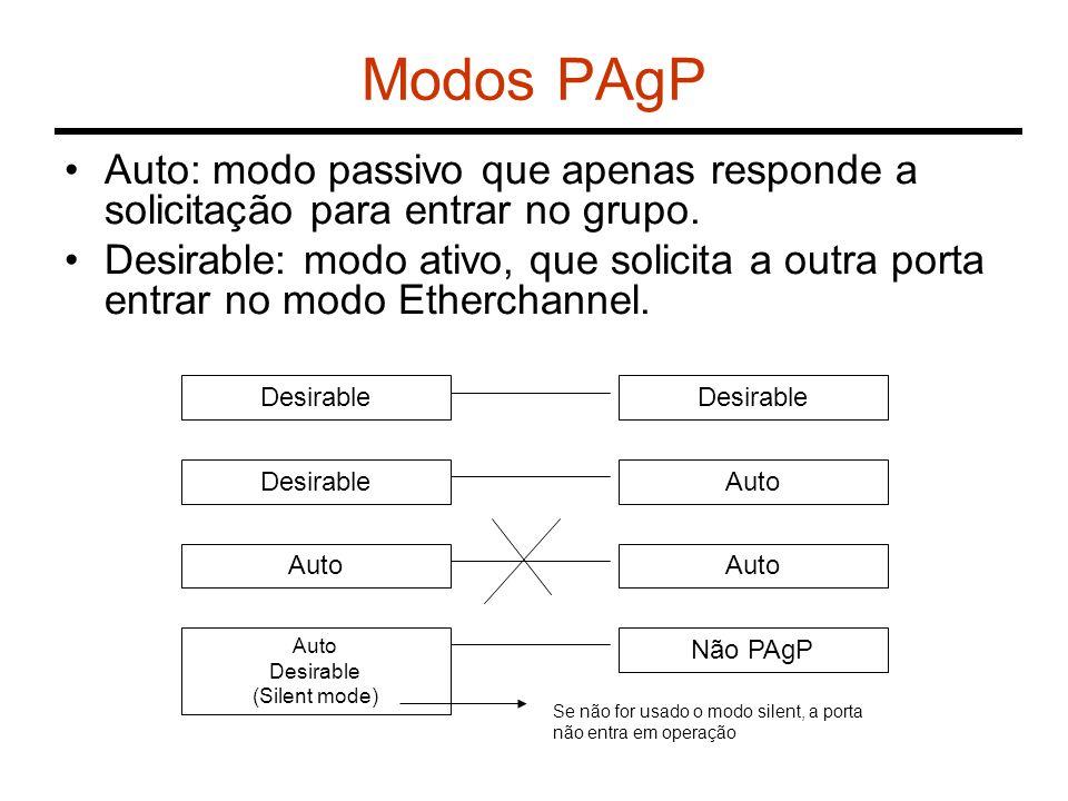 Modos PAgP Auto: modo passivo que apenas responde a solicitação para entrar no grupo. Desirable: modo ativo, que solicita a outra porta entrar no modo