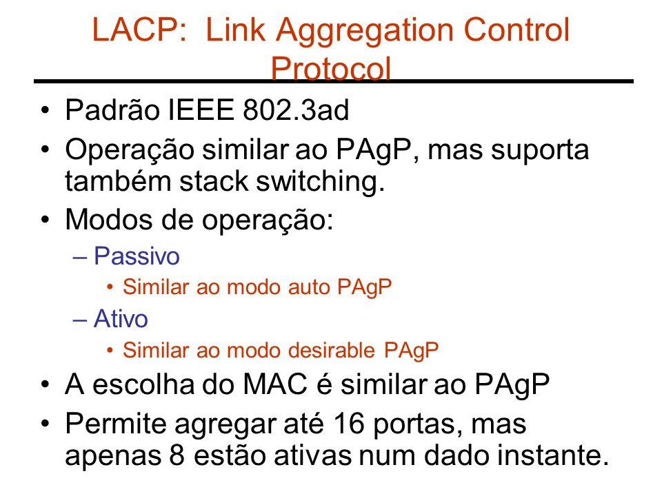 LACP: Link Aggregation Control Protocol Padrão IEEE 802.3ad Operação similar ao PAgP, mas suporta também stack switching. Modos de operação: –Passivo