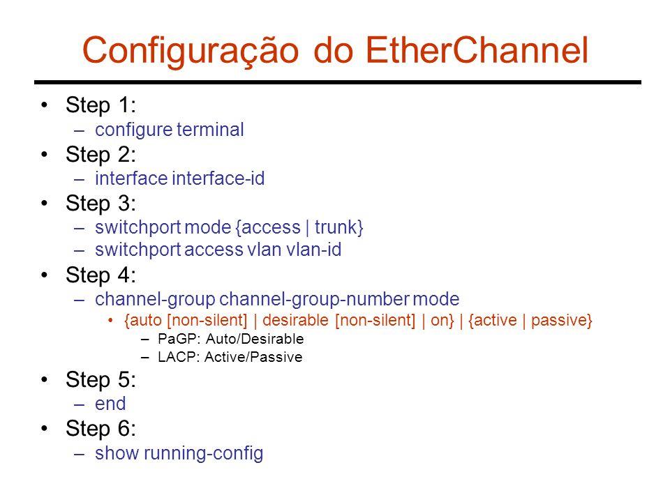 Exercício 2 - SPT com EtherChannel B = 10.26.136.60 vlan1 A = 10.26.136.13 vlan1vlan20 Fa0/18 Fa0/6-10Fa0/1-5 C = 10.26.136.184 vlan1vlan20 Fa0/1-5Fa0/6-10 Fa0/1-5Fa0/6-10 Fa0/24 Fa0/21 Fa0/24 Fa0/23 Fa0/19Fa0/20 Fa0/21 Fa0/22 Ether 1 Ether 2 Ether 3