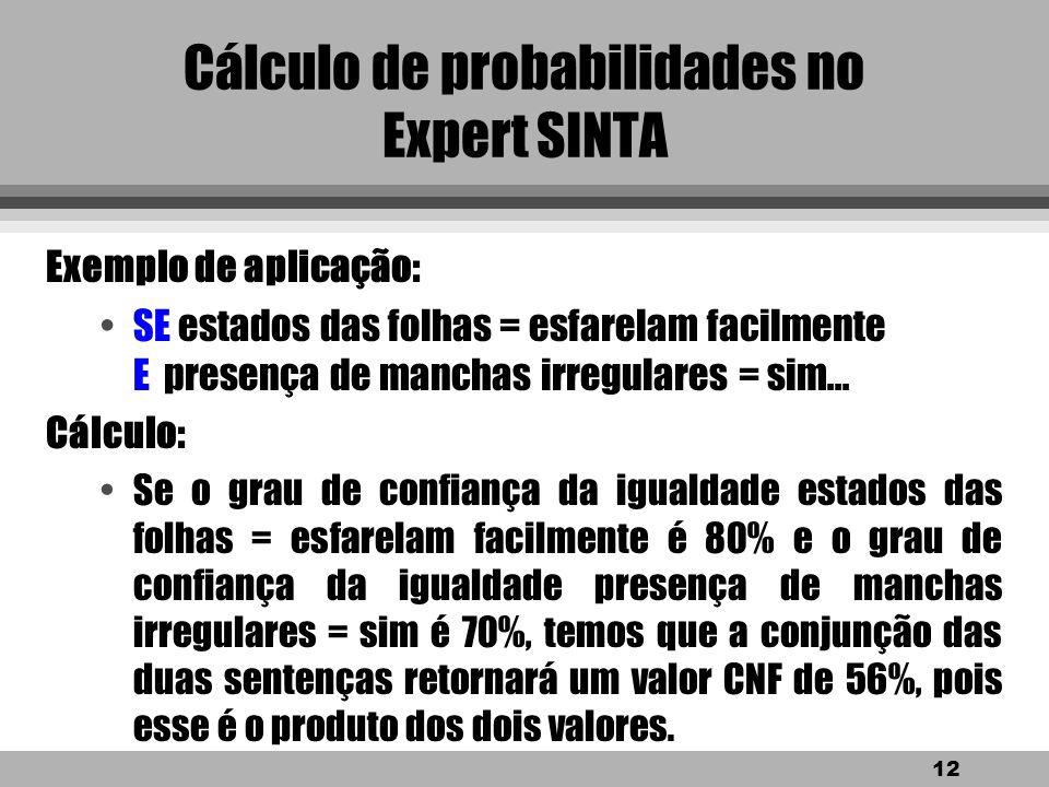 11 Cálculo de probabilidades no Expert SINTA Caso 2: Cálculo do grau de confiança com o operador E. Cálculo : l Se possuímos duas igualdades var 1 = v