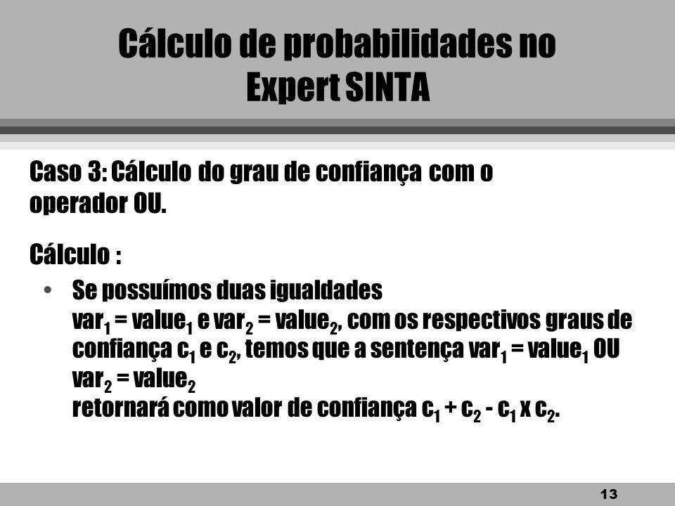 12 Cálculo de probabilidades no Expert SINTA Exemplo de aplicação: SE estados das folhas = esfarelam facilmente E presença de manchas irregulares = si