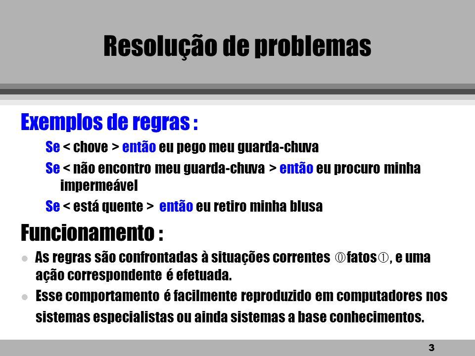 2 Resolução de problemas Qual é a importância dos conhecimentos provenientes de nossa experiência ? eles dão origem as heurísticas OBS.: Estes também