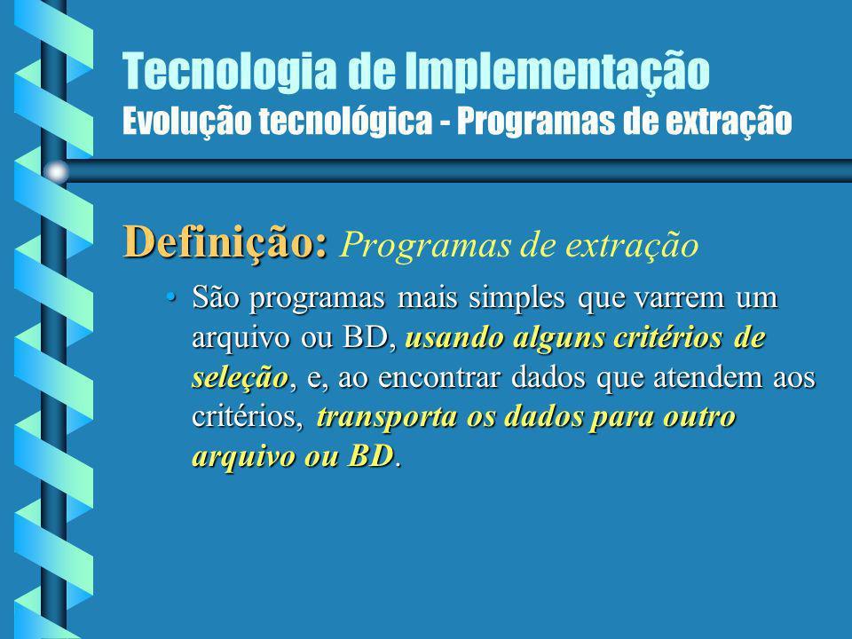 Tecnologia de Implementação Evolução tecnológica 1980 PCs, tecnologia L4G Processamento de transações MIS/SAD O paradigma de um único BD para todos os fins
