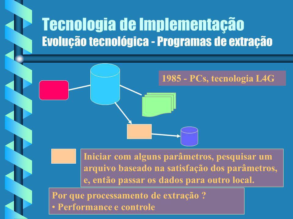 Tecnologia de Implementação Evolução tecnológica - Programas de extração Definição: Definição: Programas de extração São programas mais simples que varrem um arquivo ou BD, usando alguns critérios de seleção, e, ao encontrar dados que atendem aos critérios, transporta os dados para outro arquivo ou BD.São programas mais simples que varrem um arquivo ou BD, usando alguns critérios de seleção, e, ao encontrar dados que atendem aos critérios, transporta os dados para outro arquivo ou BD.