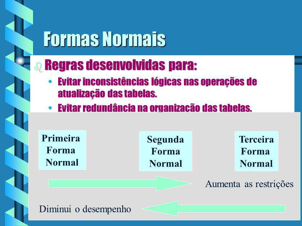Implementação Física do Relacionamento b Os relacionamentos são implementados fisicamente através do relacionamento das chaves primárias de cada tabela que compõe o relacionamento.