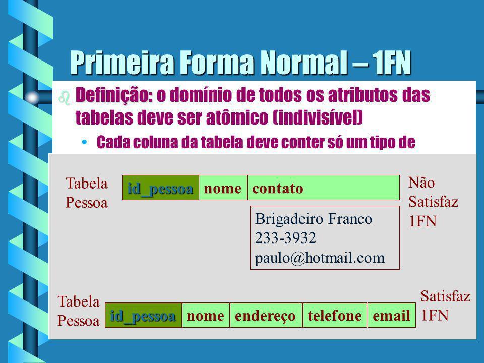 Formas Normais b Regras desenvolvidas para: Evitar inconsistências lógicas nas operações de atualização das tabelas.Evitar inconsistências lógicas nas operações de atualização das tabelas.