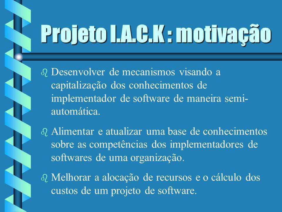 Projeto I.A.C.K b Implementação de um agente de software para capitalizar os conhecimentos de um implementador de software.
