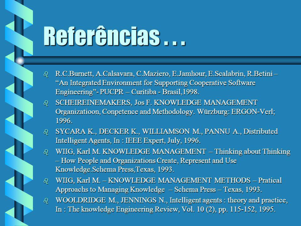 Referências... b GRUNDSTEIN M., BARTHÈS J-P., An Industrial View of the Process of Capitalizing Knowledge, 4th. International ISMICK Symposium, Edited