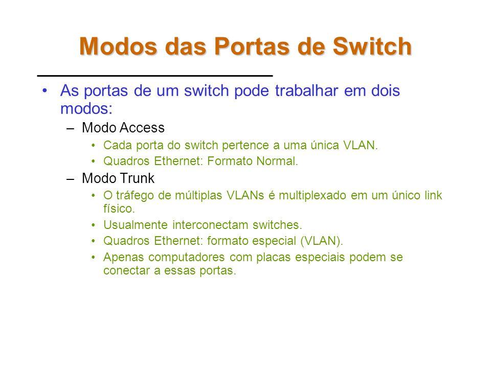 Modos das Portas de Switch As portas de um switch pode trabalhar em dois modos: –Modo Access Cada porta do switch pertence a uma única VLAN.