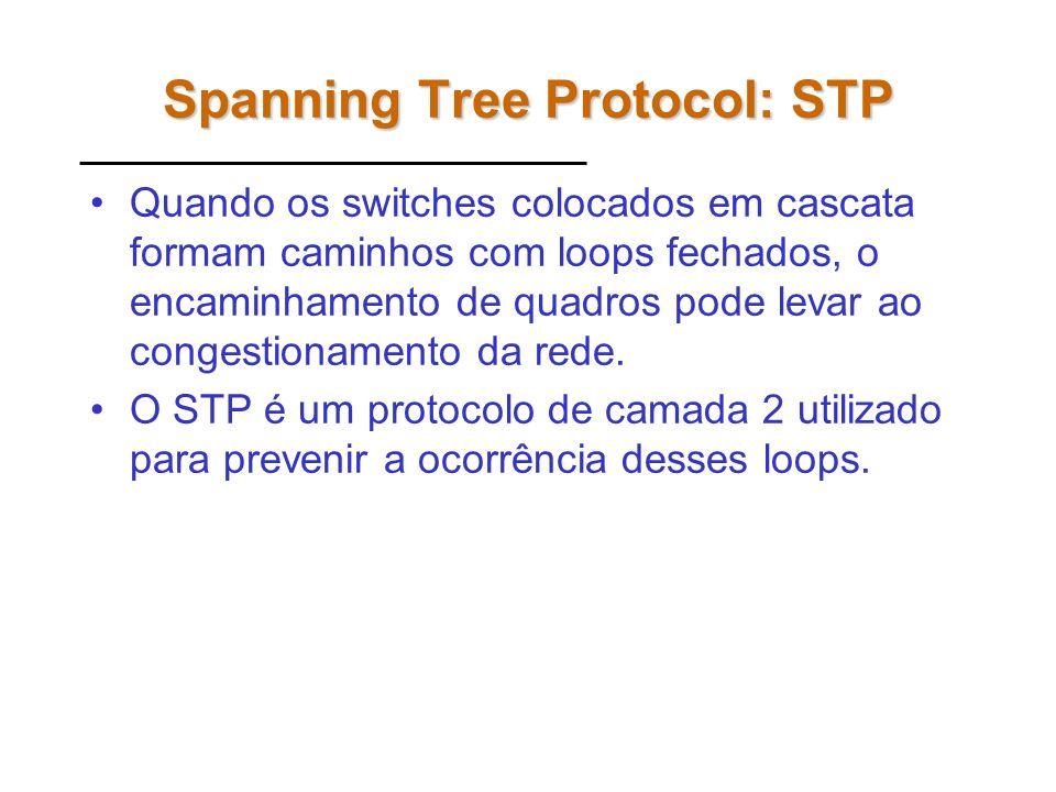 Spanning Tree Protocol: STP Quando os switches colocados em cascata formam caminhos com loops fechados, o encaminhamento de quadros pode levar ao congestionamento da rede.