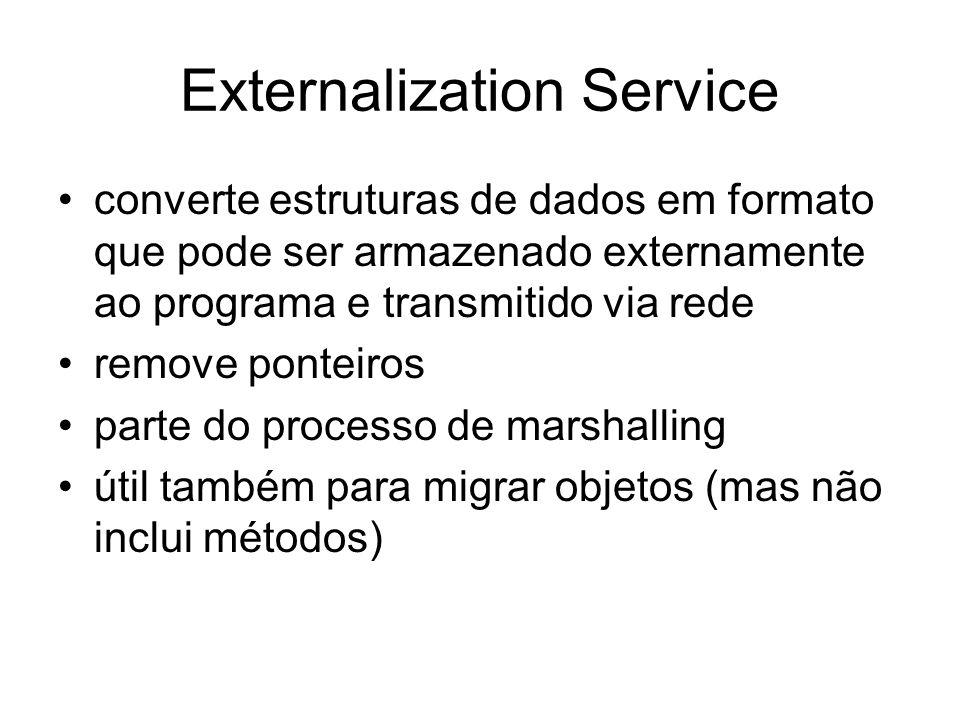 Externalization Service converte estruturas de dados em formato que pode ser armazenado externamente ao programa e transmitido via rede remove ponteir