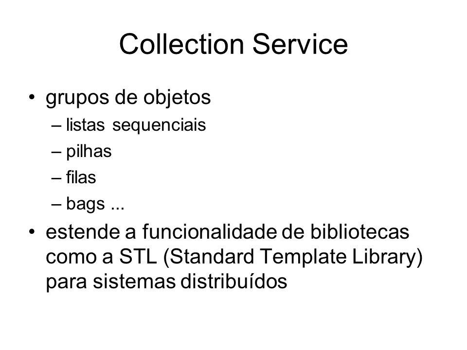 Collection Service grupos de objetos –listas sequenciais –pilhas –filas –bags... estende a funcionalidade de bibliotecas como a STL (Standard Template