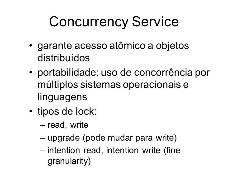 Concurrency Service garante acesso atômico a objetos distribuídos portabilidade: uso de concorrência por múltiplos sistemas operacionais e linguagens