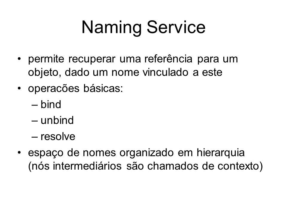 Naming Service permite recuperar uma referência para um objeto, dado um nome vinculado a este operacões básicas: –bind –unbind –resolve espaço de nome
