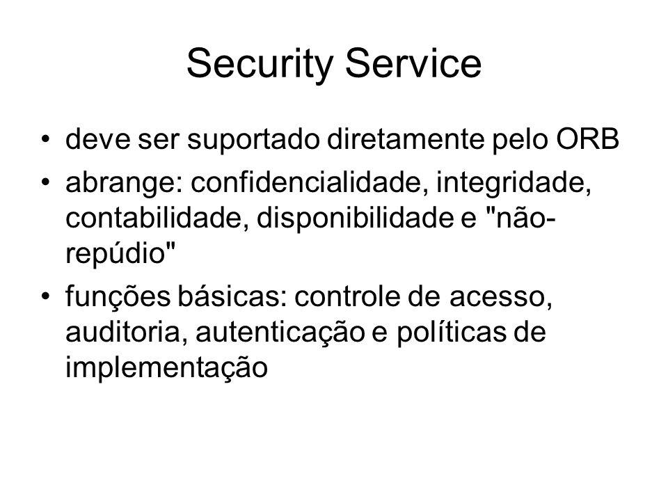 Security Service deve ser suportado diretamente pelo ORB abrange: confidencialidade, integridade, contabilidade, disponibilidade e