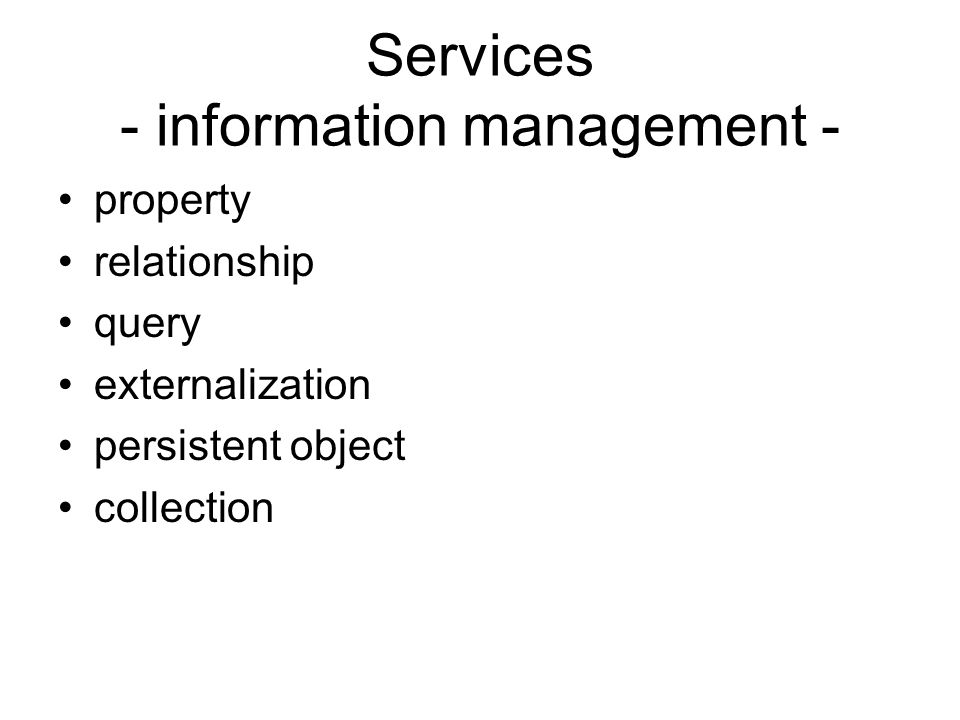 Facilities Horizontais –Distributed Document Compound –OpenDoc Parts, Framework Objects –Common Management –Internationalization –Time –Data Interchange
