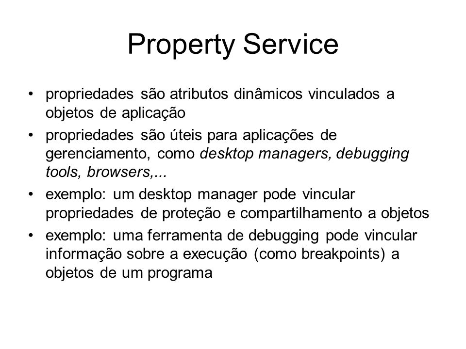 Services - histórico - Em preparacao em 1997 –Interface Versioning –Asynchronous Invocation (message)