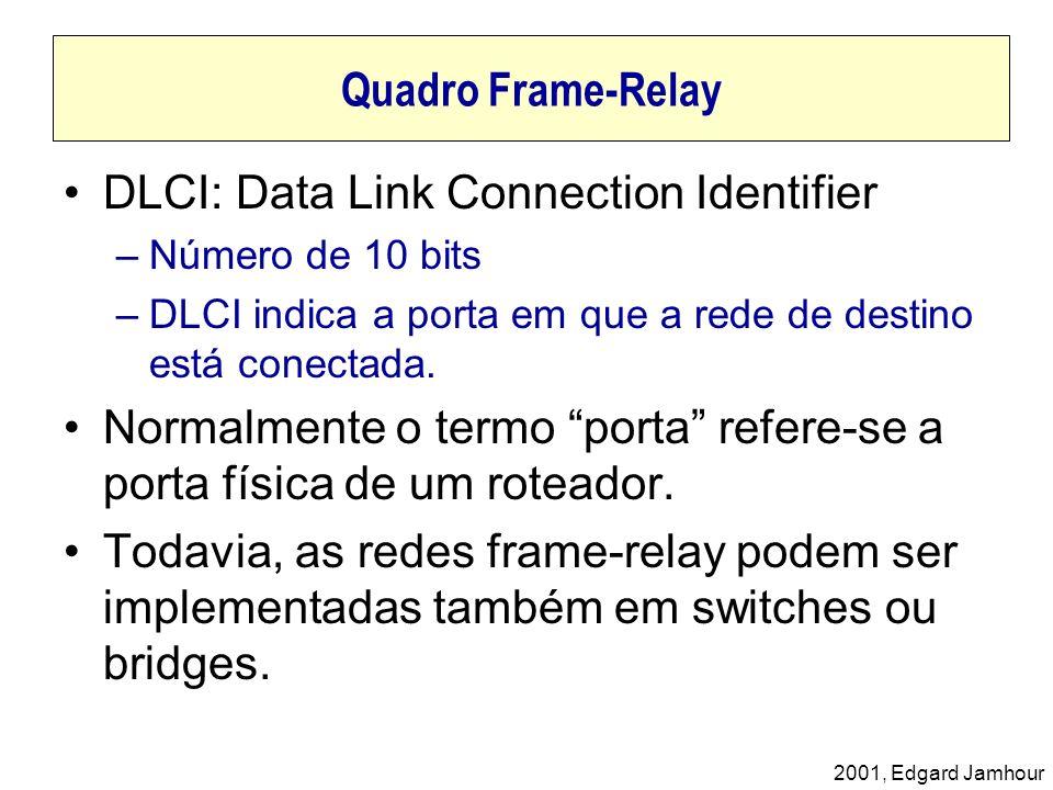 2001, Edgard Jamhour Quadro Frame-Relay DLCI: Data Link Connection Identifier –Número de 10 bits –DLCI indica a porta em que a rede de destino está co